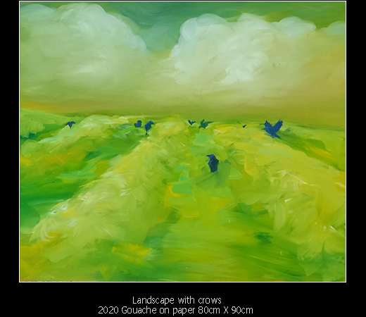 Paintings - Landscape With Crows